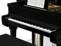 黑色大平台钢琴 库存照片