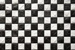 黑色夫斯汉瓦片白色 免版税库存图片