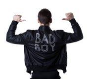 黑色夹克的坏男孩portait脱衣舞人 库存图片