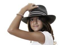 黑色女孩帽子 免版税库存照片