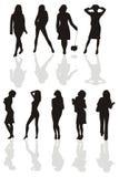 黑色女孩s siluette 免版税图库摄影