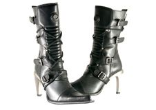 黑色女性现代鞋子 免版税图库摄影