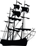 黑色小船 免版税库存图片
