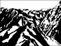 黑色山白色 库存图片