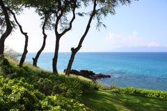黑色岩石,在夏威夷毛伊Ka'anapali海滩的PU'U KEKA'A 库存图片