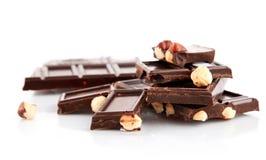 黑色巧克力螺母 免版税图库摄影