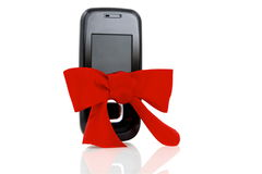 黑色弓典雅的现代电话红色 图库摄影