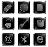 黑色按钮正方形向量万维网 免版税库存图片