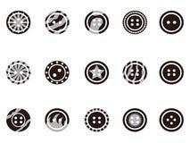 黑色按钮衣物图标 免版税库存照片