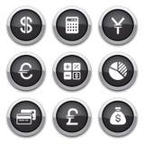 黑色按钮财务 库存图片