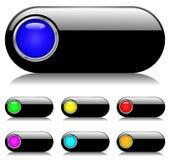 黑色按钮集合发光 免版税库存图片