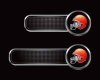 黑色方格的橄榄球盔选项 免版税库存图片