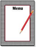 黑色方格花布菜单 库存照片