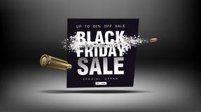 黑色星期五销售额 与飞行微粒的冲击波 射击以价格用飞行子弹,创造性的模板 图库摄影