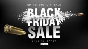 黑色星期五销售额 与飞行微粒的冲击波 射击以价格用飞行子弹,创造性的模板 免版税库存照片