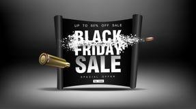 黑色星期五销售额 与飞行微粒的冲击波 射击以价格用飞行子弹,创造性的模板 免版税库存图片