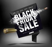 黑色星期五销售额 与飞行微粒的冲击波 射击以价格用飞行子弹,创造性的模板 库存图片