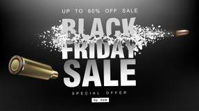 黑色星期五销售额 与飞行微粒的冲击波 射击以价格用飞行子弹,创造性的模板 库存照片