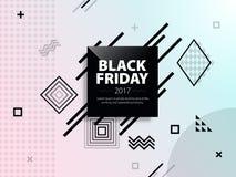 黑色星期五销售额 黑白网横幅 海报销售 在孟菲斯样式的模板 advertisi的时兴和现代横幅 免版税库存照片