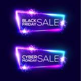 黑色星期五销售额 Cyber星期一 霓虹背景 图库摄影