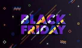 黑色星期五 销售和折扣时尚横幅 与一个长的阴影的题字 与种族分界线的背景 一明亮的templa 免版税库存图片
