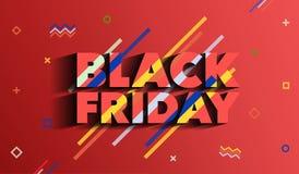 黑色星期五 销售和折扣时尚横幅 与种族分界线的背景 在孟菲斯样式的一块明亮的模板 一inscrip 图库摄影