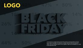 黑色星期五 销售和折扣横幅模板设计 与一个长的阴影的题字在灰色背景 广告的模板 免版税库存图片