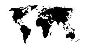 黑色映射世界 免版税库存照片