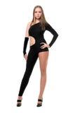 黑色服装性感的紧身妇女年轻人 库存照片
