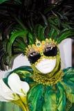 黑色服装用羽毛装饰绿色威尼斯式 免版税库存图片