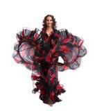 黑色服装舞蹈吉普赛红色妇女 库存照片