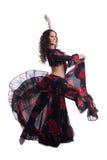 黑色服装舞蹈吉普赛红色妇女 免版税图库摄影