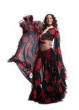 黑色服装舞蹈吉普赛红色妇女 免版税库存照片