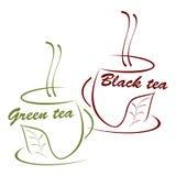 黑色杯子绿茶 免版税库存图片