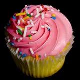 黑色杯形蛋糕粉红色 免版税图库摄影