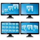 黑色查出的监控程序保护屏幕 免版税库存照片