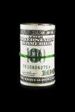 黑色查出货币卷 免版税库存图片