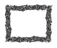 黑色框架葡萄酒 钢笔画 免版税图库摄影