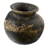黑色棕色黏土工厂罐 免版税库存照片