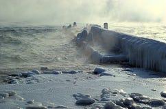 黑色横向海运风暴冬天 免版税图库摄影