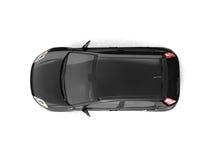 黑色汽车斜背式的汽车顶视图 库存图片