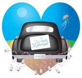黑色汽车结婚的符号w 免版税库存照片