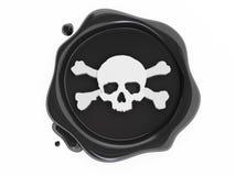 黑色海盗头骨符号蜡白色 库存照片