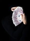 黑色滑雪帽的夜贼 免版税库存图片