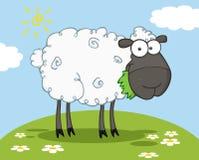 黑色漫画人物绵羊 免版税库存图片