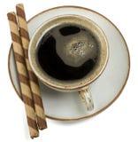 黑色焦糖咖啡薄酥饼 图库摄影
