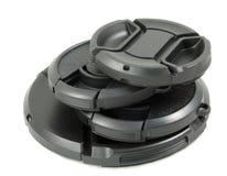 黑色照相机盖帽查出的透镜 免版税库存图片