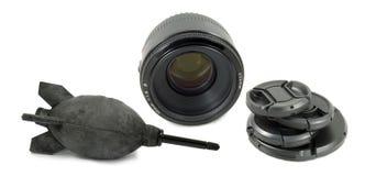 黑色照相机设备查出透镜 免版税库存图片