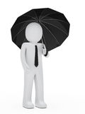 黑色生意人暂挂伞 图库摄影