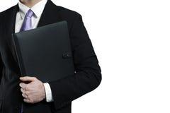 黑色生意人藏品皮革投资组合 免版税库存照片